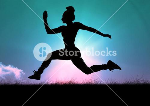 Silhouette of woman running on grass against sky background