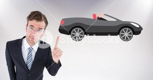 Businessman pointing at a car against white background