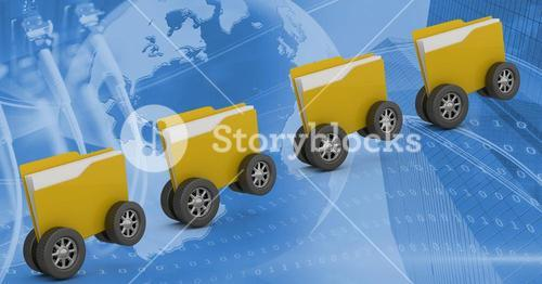 Digitally generated image of folder icons with wheels