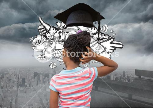 Thoughtful girl with graduation cap against cityscape in background