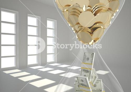 Hourglass with coins and currency notes in room