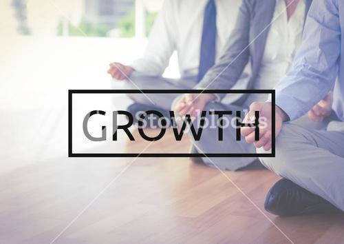 Growth text against business colleagues doing meditation in background