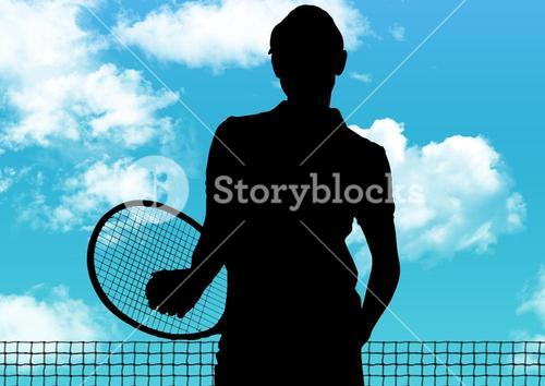Silhouette of tennis player with racket against sky background