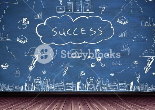 Conceptual image of business and technology with success text on chalkboard