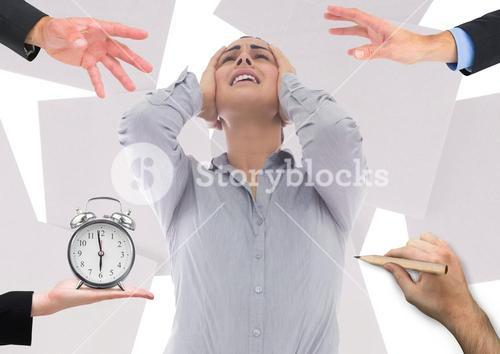 Conceptual image of businesswoman frustrated due to work load