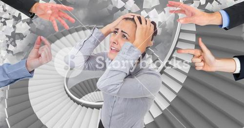 Hands blaming a frustrated businesswoman against paper sheets flying on stairs in background