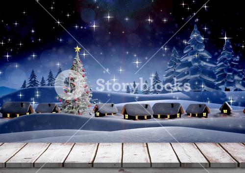 Christmas themed snowy background with wooden boardwalk