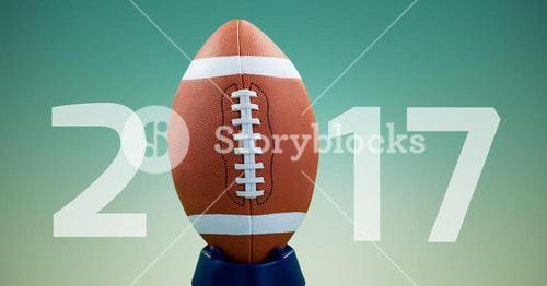 Rugby ball forming 2017 against blue background