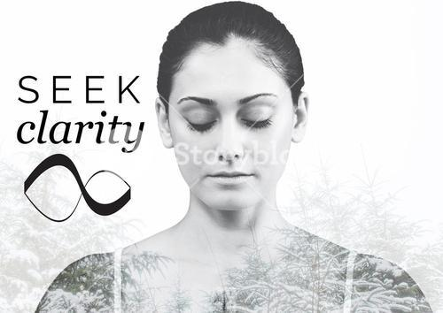 Beautiful woman mediating with forest and seek clarity text