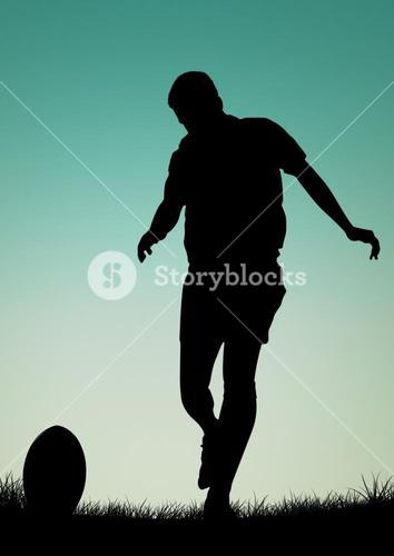 Silhouette of male athlete playing football