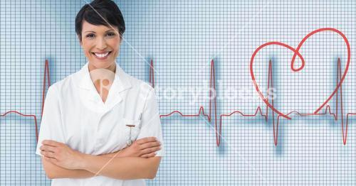 Female doctor standing with arms crossed with heart rate background