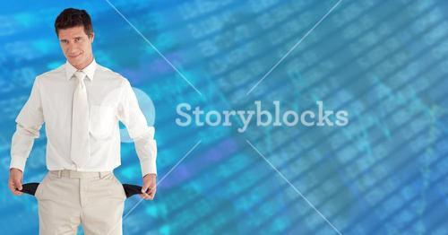 Composite image of businessman showing his empty pockets