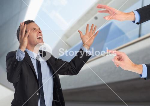 Frustrated businessman shouting