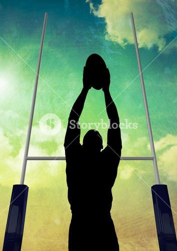 Silhouette athlete playing rugby