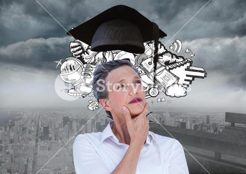 Thoughtful female executive with mortar board above head