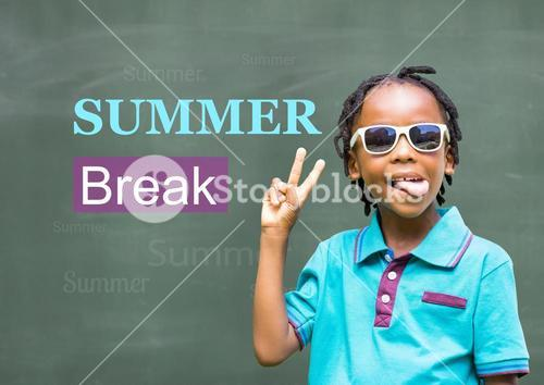 Schoolkid making victory sign