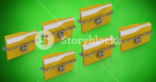 File folder with chain locked against green background