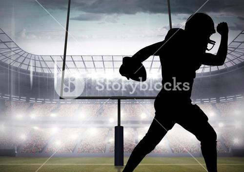 Silhouette athlete playing rugby in stadium