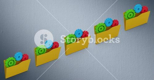 File folder with gears against grey background