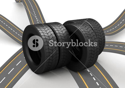 Tyres arranged against white background