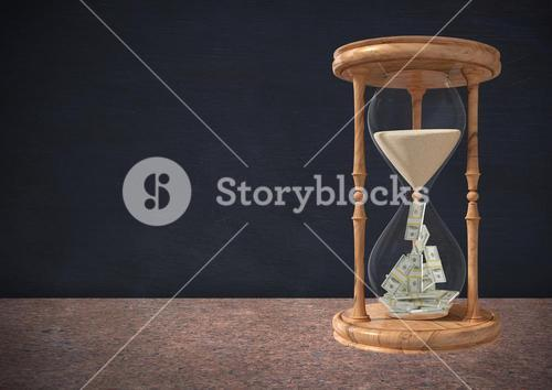 Currency flowing through hour glass and book stack on table