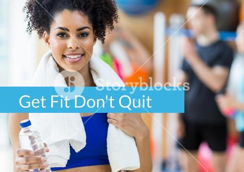 Portrait of fitness woman with text get fit dont quit