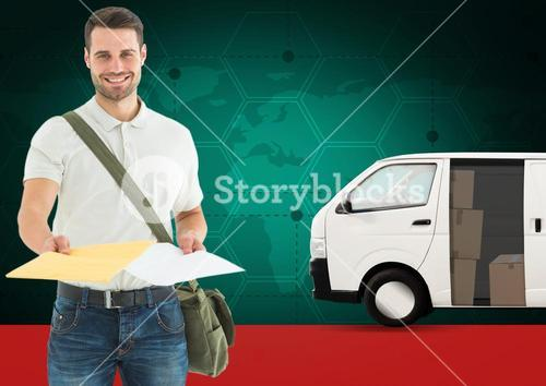 Portrait of delivery man holding document