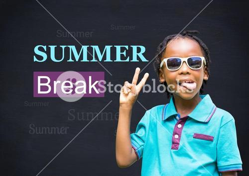 Boy showing peace sign with summer break text in background