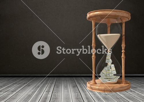 Currency flowing through hour glass against black background