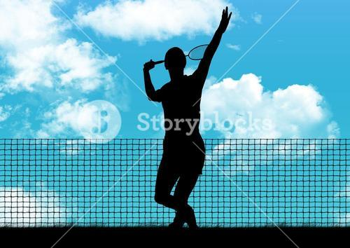 Silhouette of player playing tennis against sky in background