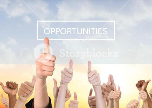 People showing thumbs up sign against background with opportunities text