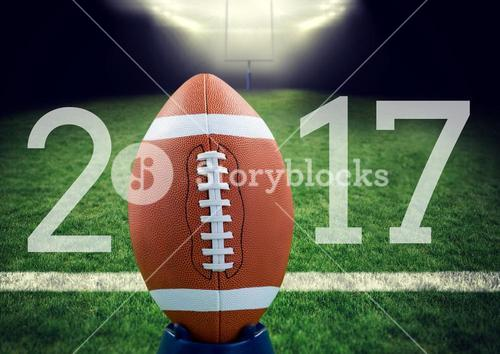 Rugby ball on 2017 logo against stadium in background
