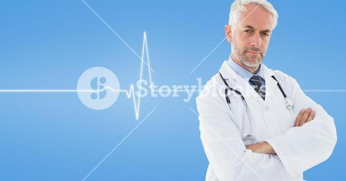 Doctor standing with his arms crossed against medical background