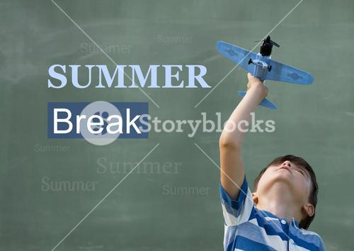Boy playing with toy plane against background summer break in text