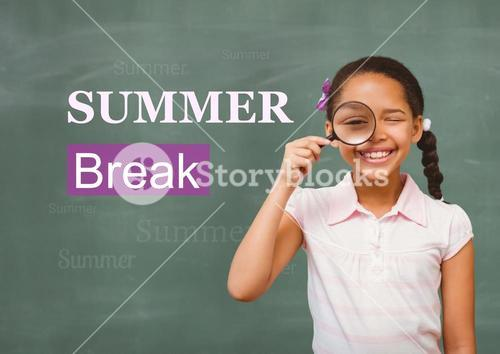 Happy girl holding magnifying glass against background summer break in text