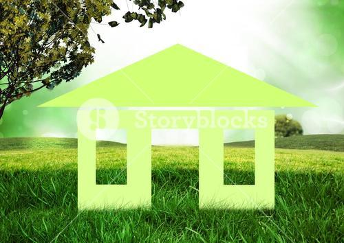 Conceptual image of home in grassland