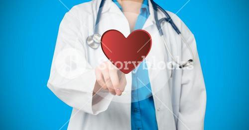 Doctor pretending to touch heart against blue background