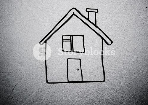 House against grey background