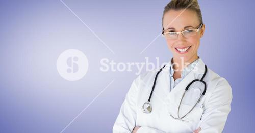 Smiling doctor with arms crossed against violet background