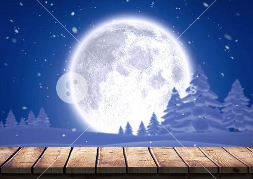 Wooden plank against snow forest and full moon