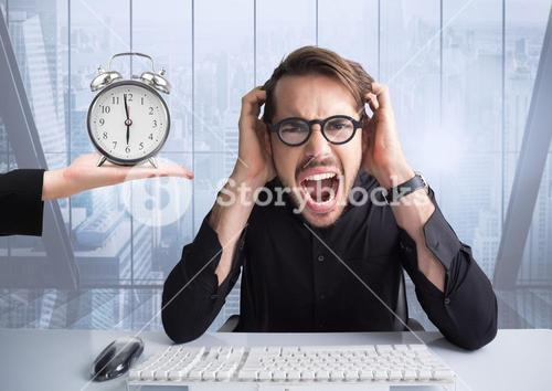 Businessman stressed out by deadline