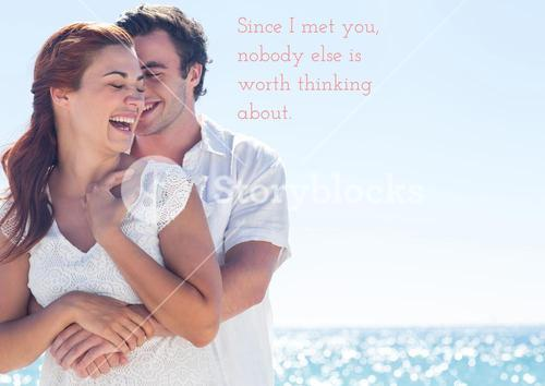 Romantic couple embracing each other and a love quote