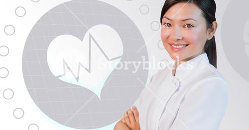Portrait of a smiling female doctor with heat shape and pulse rate graph in background
