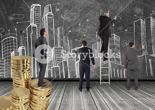 Conceptual image of businesspeople planning business development