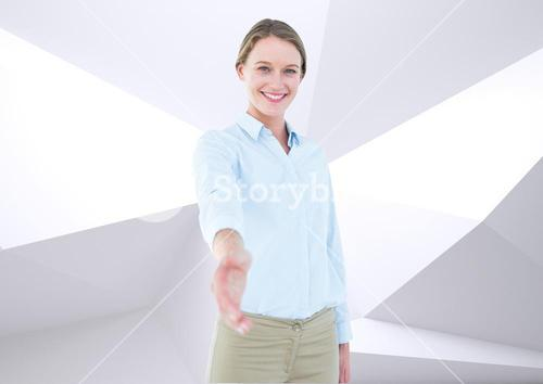 Portrait of a happy woman reaching hand for handshake