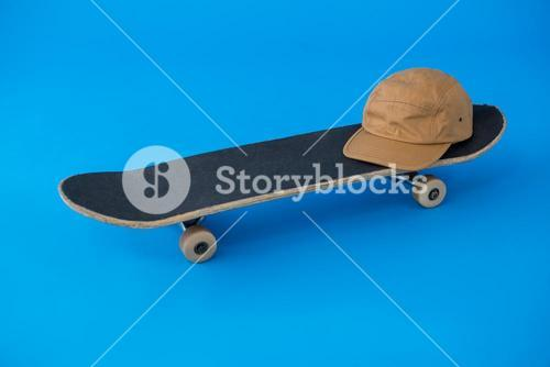 Cap on skateboard