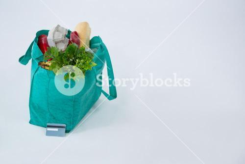 Grocery bag with credit card