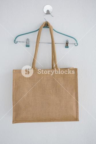 Grocery bag hanging on hanger