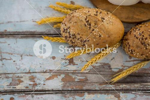 Buns with wheat grains