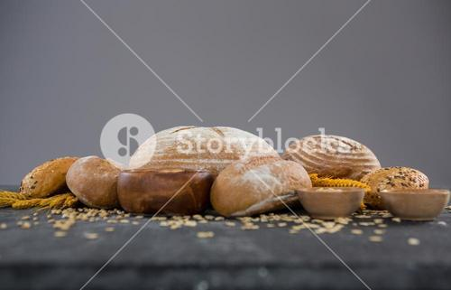 Bread loaves with wheat grains